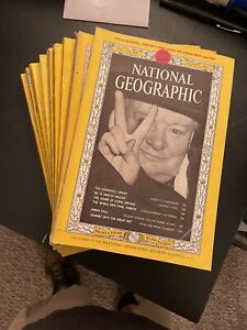 Lot of 9 National Geographic Magazines from 1960's - Churchill Vienna Viet Nam