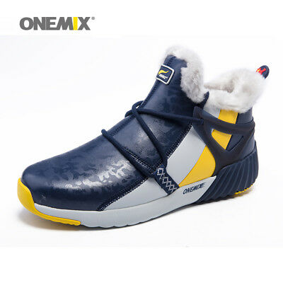 ONEMIX Mens Boots Ankle Warm Wool Outdoor Plush Shoes Waterproof Winter Sneakers