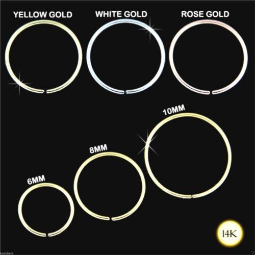 Anillo de la nariz aro 14K Quilates Genuino Amarillo Rosa O Blanco Oro Piercing 22g