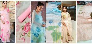 New-Floral-Saree-Sari-Indian-Printed-Designer-Wear-Print-Party-Wedding-Pakistani