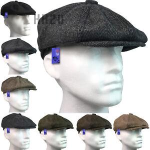 Flat-Cap-Mens-Tweed-Herringbone-8-Panel-Wool-Blend-Blinders-Gatsby-Country