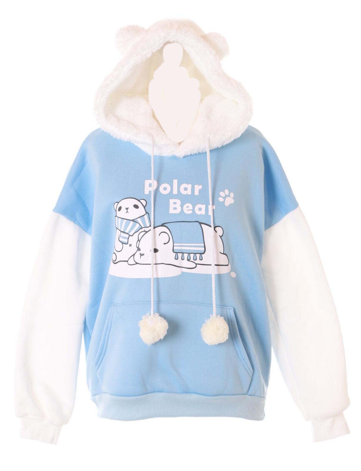 TS-185 Pastel bluee White Polar Bear Pom Poms Goth Lolita Hooded Sweater