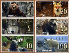 SET Alaska,3;5;10;20;50;100 Northern Dollars, 2016, Private Issue UNC > Animals