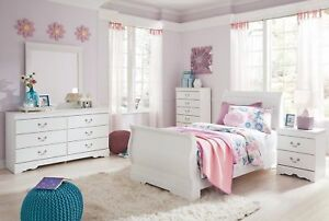 Details about Ashley Furniture Anarasia Twin Sleigh 6 Piece Childrens  Bedroom Set