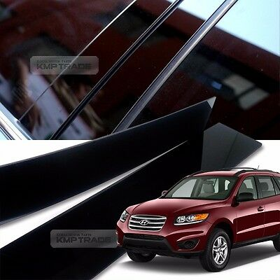 Glossy Black B C Pillar Post UV Coating Cover 6Pcs For HYUNDAI 2006-12 Santa Fe