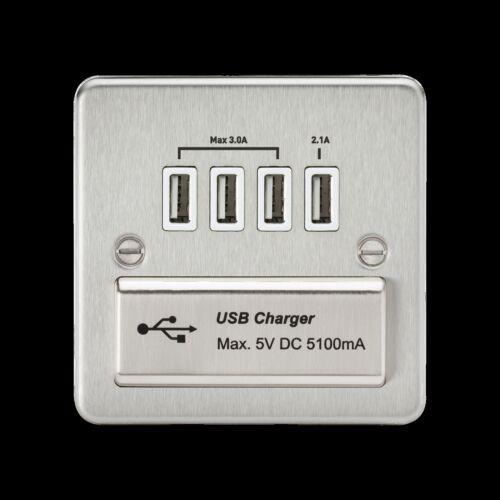 FP chrome brossé Nickel Acier plat plat slim socket commutateur bascule éperon USB