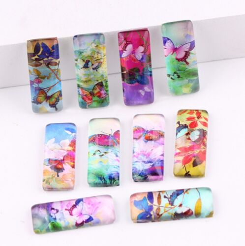 10 Butterfly Cabochons Mixed Rectangle Glass Cabochon Flat Back 10mm x 25mm