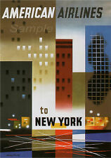 VINTAGE AMERICAN AIRLINES TO NEW YORK TRAVEL A2 POSTER PRINT