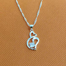 Fashion Women Heart Charm Silver Plated Pendant Necklace Jewelry Gift New