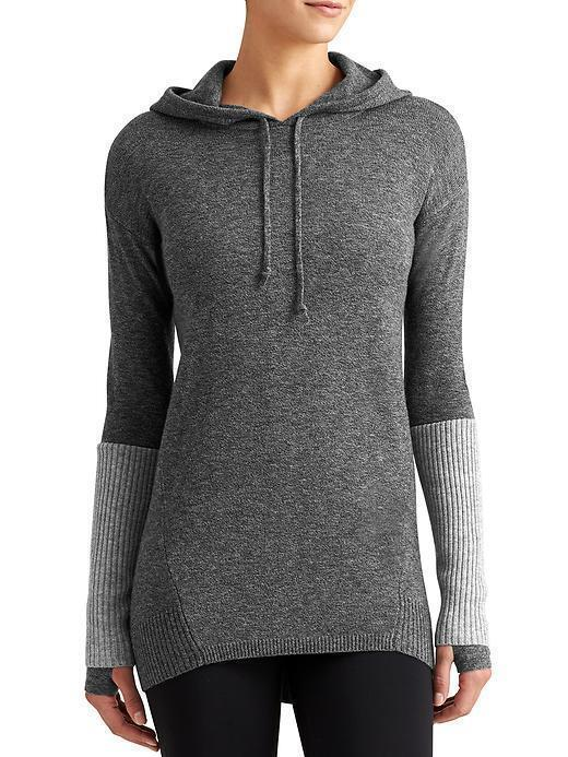 Athleta Merino Nopa Hooded Sweater, Charcoal Heather SIZE XXS   v517