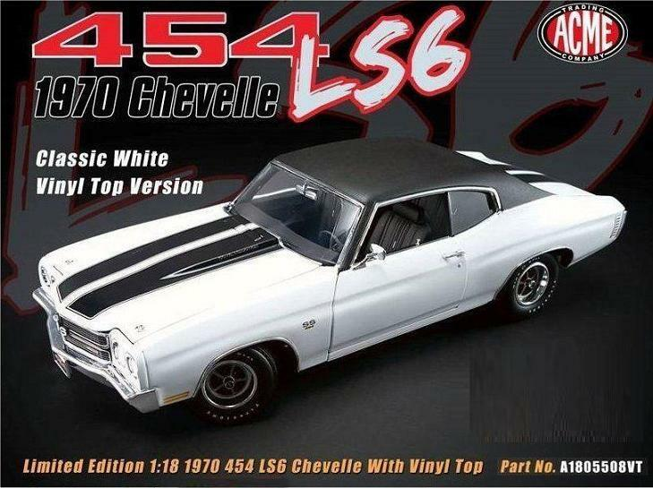 ACME 1:18 1970 Chevelle LS6 454 Vinly Top Diecast Model Car bianca A1805508VT