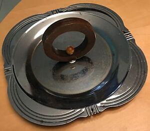 Vintage-Chrome-Wood-Bakelite-Serving-Tray-Retro-Mid-Century-Modern-Kitchenware