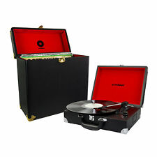 mbeat Retro Briefcase USB Record Player Turntable & Vinyl Carrier Case Bundle