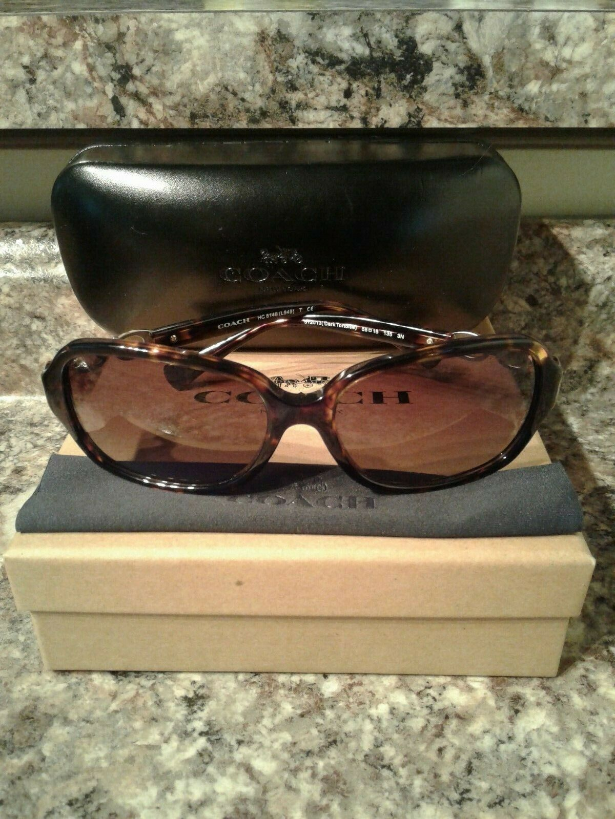 Coach brown gradient dark tortoise sunglasses with case model HC8146 (L949) 58mm