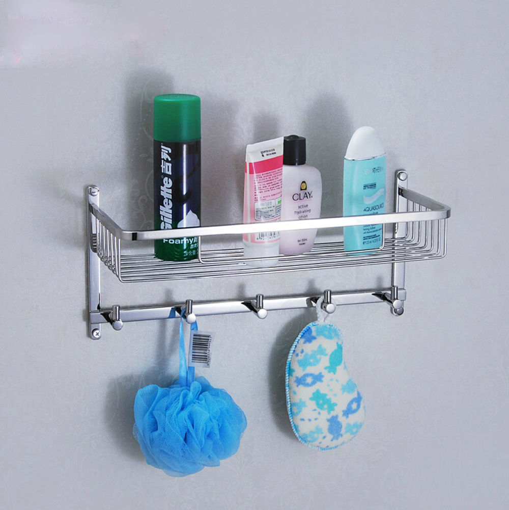 Bathroom Accessory Stainless Steel Shower Double Wire Basket Shelves with Hooks