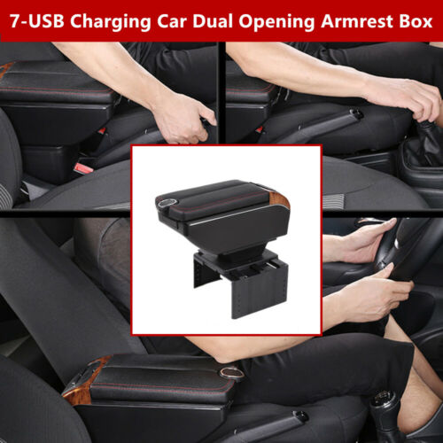 7 USB Universal Car Dual Opening Armrest Box Central Console Cup Holder Storage