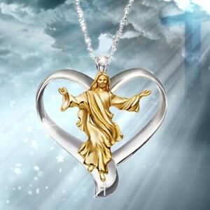Gott-Jesus-Kreuz-weisser-Topas-Halskette-Gold-gefuellt-Anhaenger-Kette-Choker