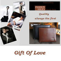 Man Browns Men's PU Leather Bifold Wallet Multi Pockets Credit Cards Purse