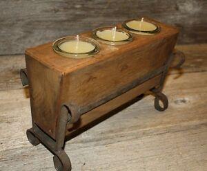 3-Hole-Wooden-Sugar-Mold-Wood-Candle-Holder-Primitive-Clear-Glass-Votives