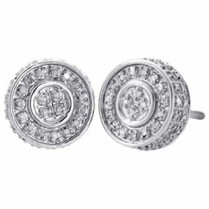 d8b48e2267afa Details about 10K White Gold Real Diamond Stud 10mm 3D Circle Shape Mens  Pave Earrings 0.50 Ct