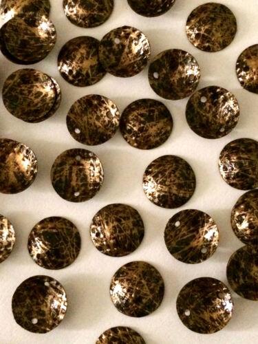 Cup 10mm Black /& Matte Gold Patterned x 50 Cabochon Sequins Dome