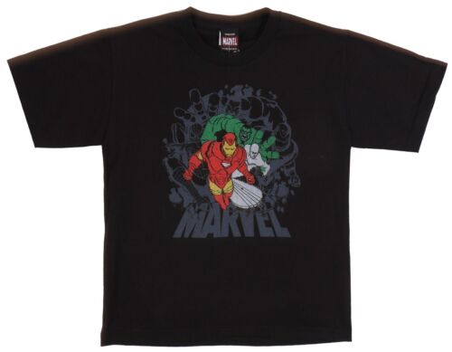 Marvel Heroes Haselson Comics Black Tee Kids Boys Age 7-14 100/% Cotton T-Shirt