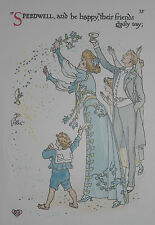 SPEEDWELL CONFETTI : 1905 Print of an Art Nouveau Watercolour WALTER CRANE