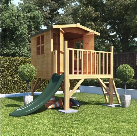 Childrens Wooden Playhouse Treehouse Tower Slide Outdoor Play House Kids Playset