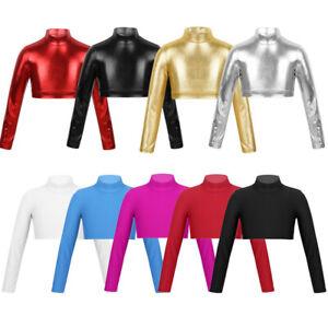 Girls-Gymnastics-Ballet-Dance-Crop-Top-Kid-Workout-Leotard-Sleeved-Shirt-Costume