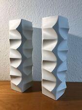 2x OP Art Design Vase Hutschenreuther Fuchs Weiß Matt White 60s 70s 60er 70er
