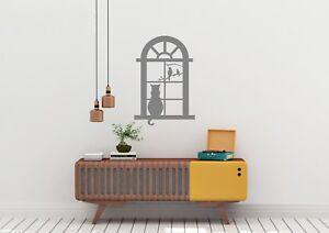 Gato-en-la-ventana-con-aves-Estupendo-Diseno-Hogar-Decoracion-Pared-Arte-Calcomania-Vinilo-Sticker