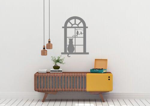 Cat In Window With Birds Inspired Design Home Decor Wall Art Decal Vinyl Sticker