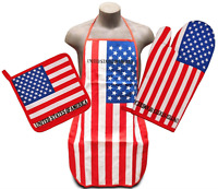 United States Flag Kitchen Bbq Set 3pc Apron Oven Mitt Pot Holder