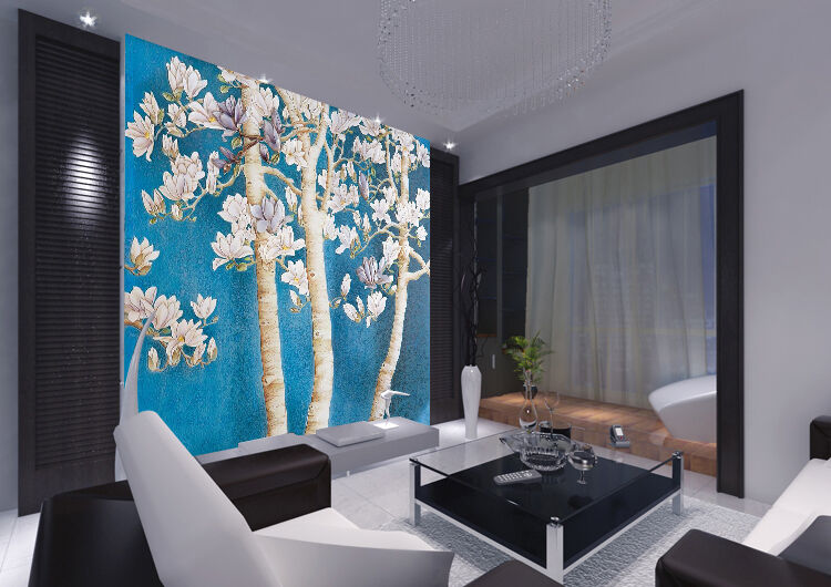 3D white flowers trees 656 Wall Paper Print Decal Wall Deco Indoor wall Mural