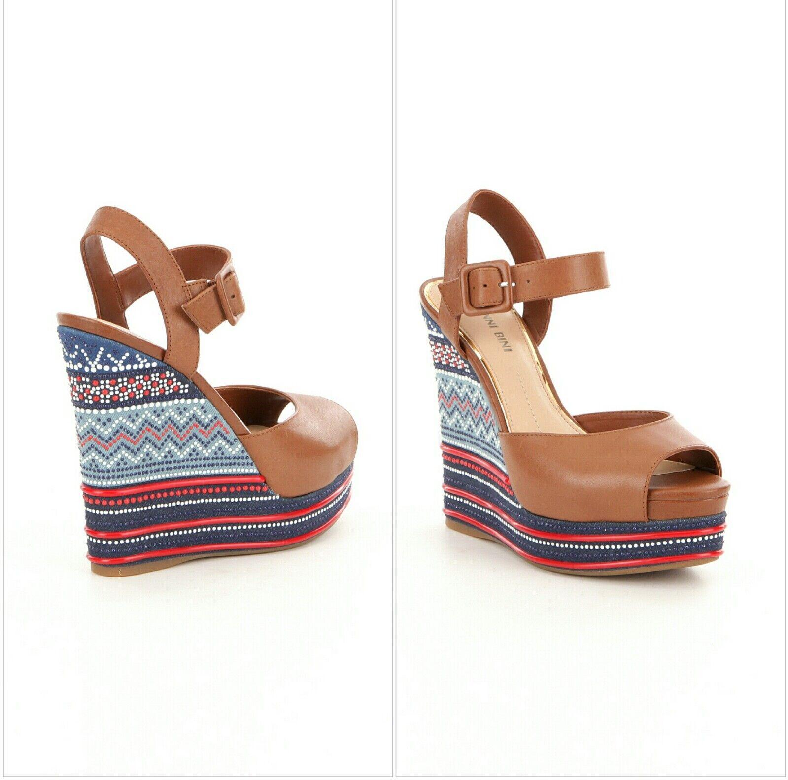 New Gianni Bini Tama damen Größe 9.5M Tribal Bead Wedge Platform Leather Sandals