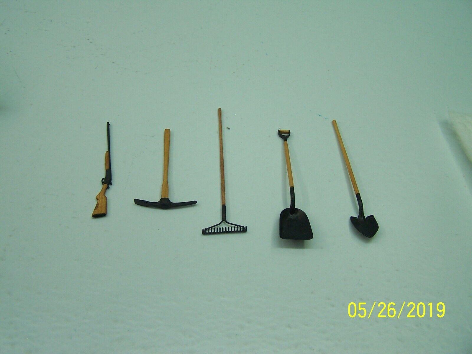 Miniature Precision Farm Handmade Wooden - Metal Shovel Rake Pick Rifle Set
