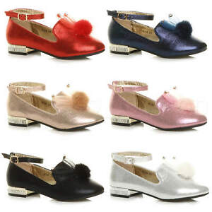 GIRLS CHILDRENS KIDS GEM BRIDESMAID WEDDING DRESS UP COSTUME PARTY SHOES SIZE