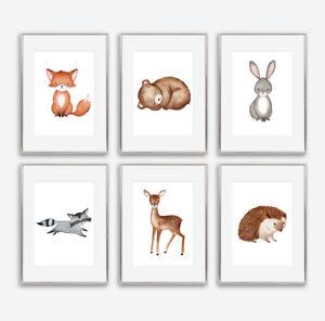 Woodland Letti Per Bambini.Baby Woodland Animali Nursery Art Prints Set Camera Da Letto Per