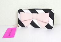 Betsey Johnson Women Pink Big Bow Striped Zip Around Wallet