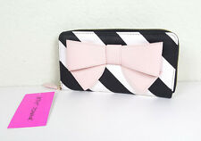 NWT BETSEY JOHNSON WOMEN PINK BIG BOW STRIPED ZIP AROUND WALLET