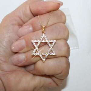 Diamond-Alternatives-Star-of-David-Pendant-Necklace-14k-Yellow-Gold-Over-925-SS
