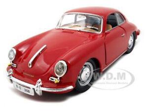 Box-Damaged-1961-PORSCHE-356-B-COUPE-RED-1-24-DIECAST-MODEL-CAR-BY-BBURAGO-22079