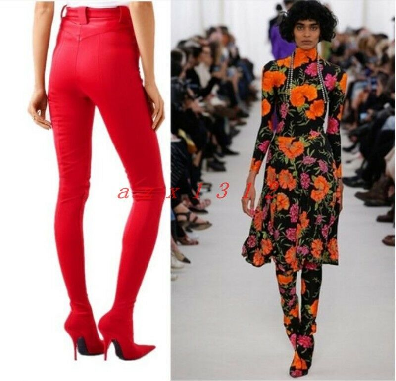 Hot Donna Pointy Toe High Stiletto Heel Silk Pant Boot Party Floral 2019 Stylish