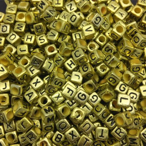 NEW 100//500//1000pcs Mixed Alphabet//Letter Acrylic Cube Beads 6x6mm 7X7mm Choose