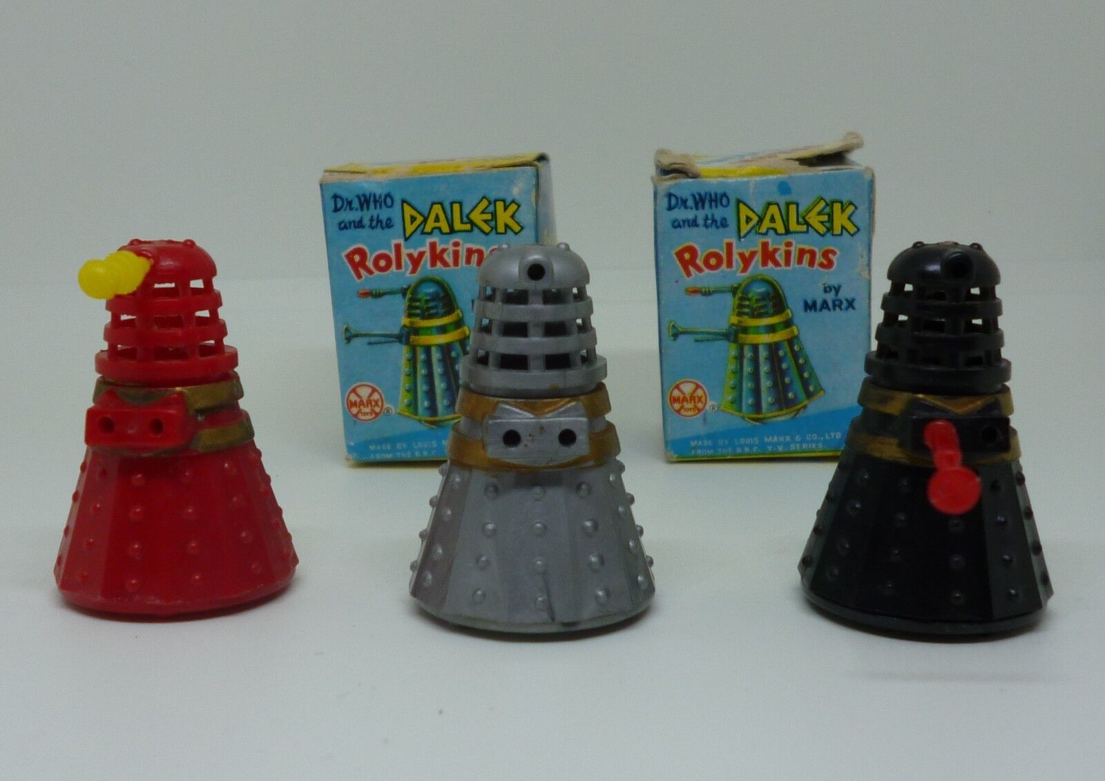 Vintage 1965 Marx Rolykins Doctor Who Daleks With Original Boxes Set Of Three