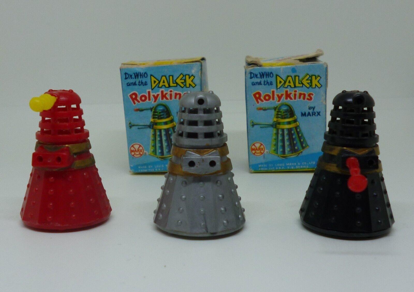 VINTAGE 1965 Marx rolykins Doctor Who Dalek con scatole originali insieme di tre