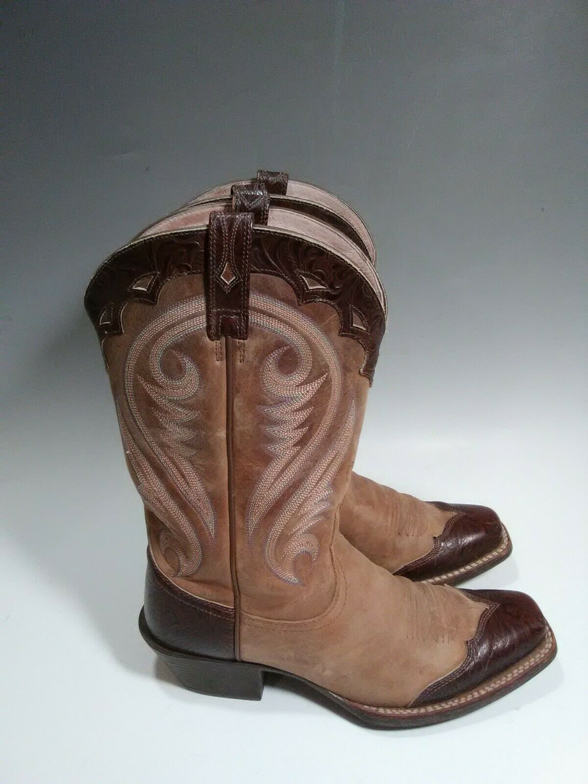 Ariat Auténtico Cuero Occidental Vaquera Bota de Montar Talla  15878 8.5 B Marrón