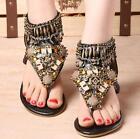 Folk Women BOHO Beads Low Heels Sandals Summer Beach T-strap Ankle Boots Shoes