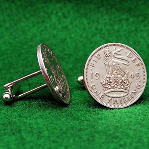 1955-65th BIRTHDAY ENGLISH 3 LIONS SHILLING COIN CUFF LINKS