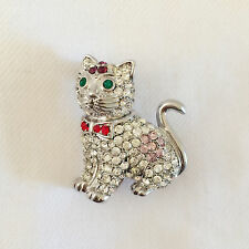 New Clear Crystal Meowing Cat Kitten w/ Red Bow Tie Lucky Brooch Pin Pet BR1369